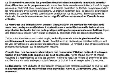 Lettre aux électeurs de la circonscription électorale RABAT-CHELLAH.