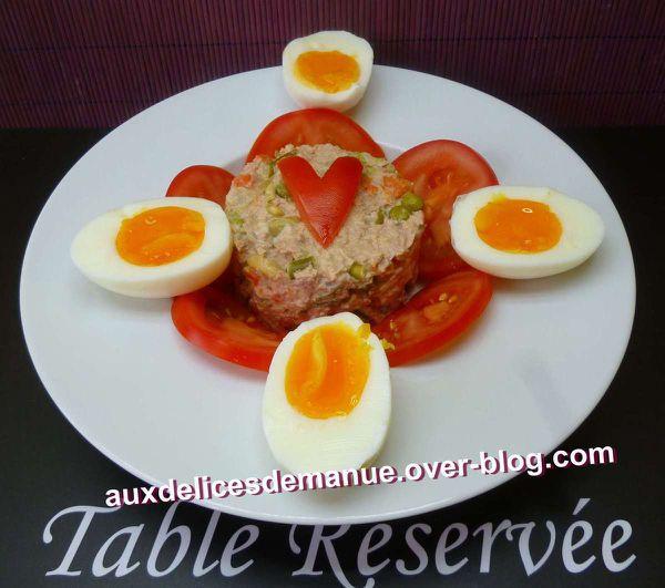 macédoine au thon et œufs mi-cuits