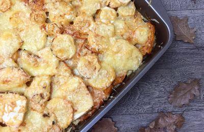 Gratin de légumes d'automne : potimarron, panais, carottes, patates douces et pommes de terre