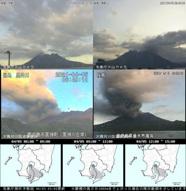 Sakurajima - 05.04.2021 / 06:48 JST - Doc. JMA