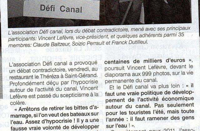 Saint Gérand : Défi Canal continue sa mobilisation - OF 22/12/2010