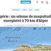 Algérie : un séisme de magnitude 5 enregistré à 70 km d'Alger le 2/01/2018 et une nouvelle réplique de magnitude 4,3 enregistré le 8/01/2018
