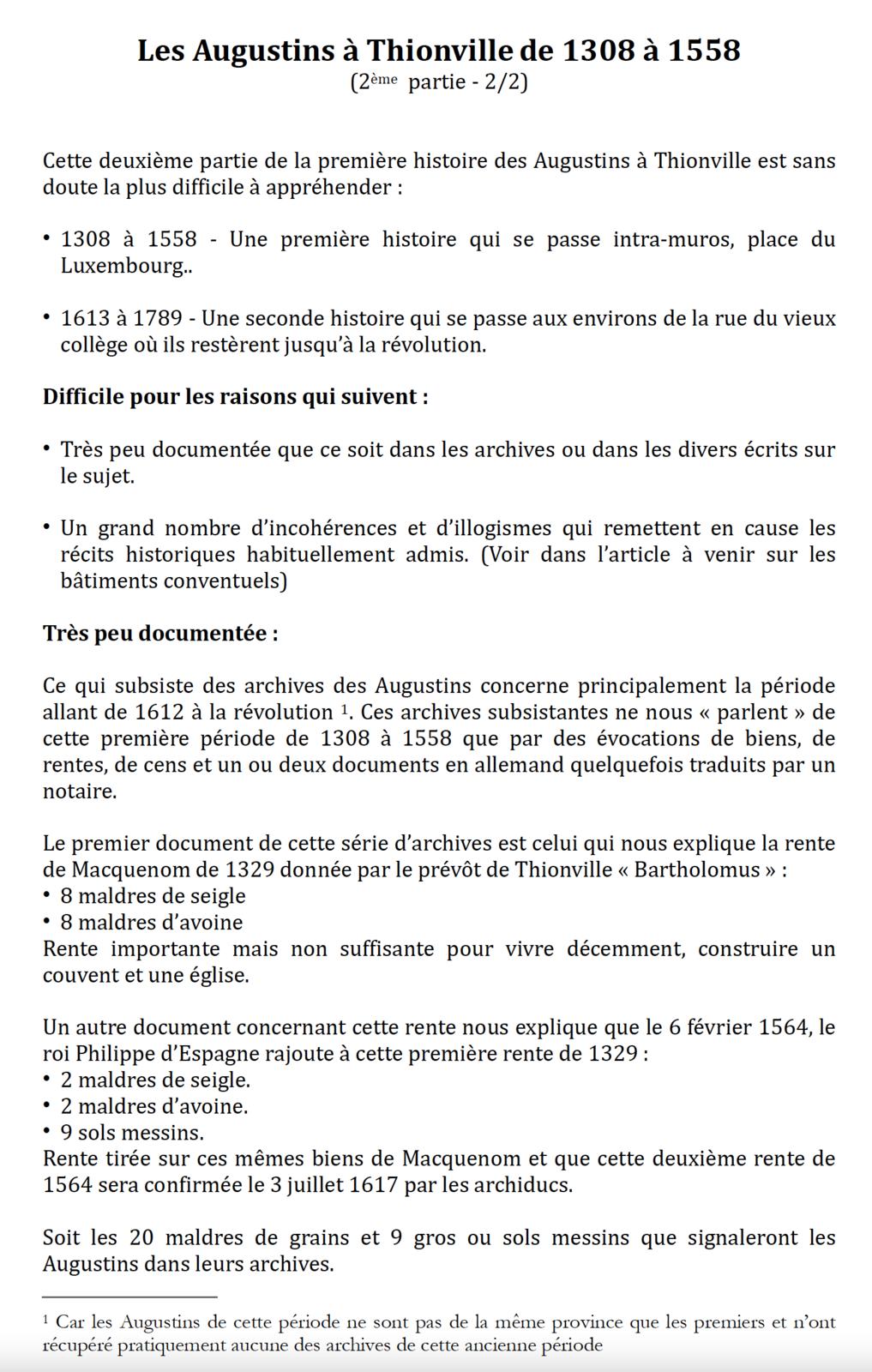 Les Augustins à Thionville de 1308 à 1558           (2ème  partie  2/2)