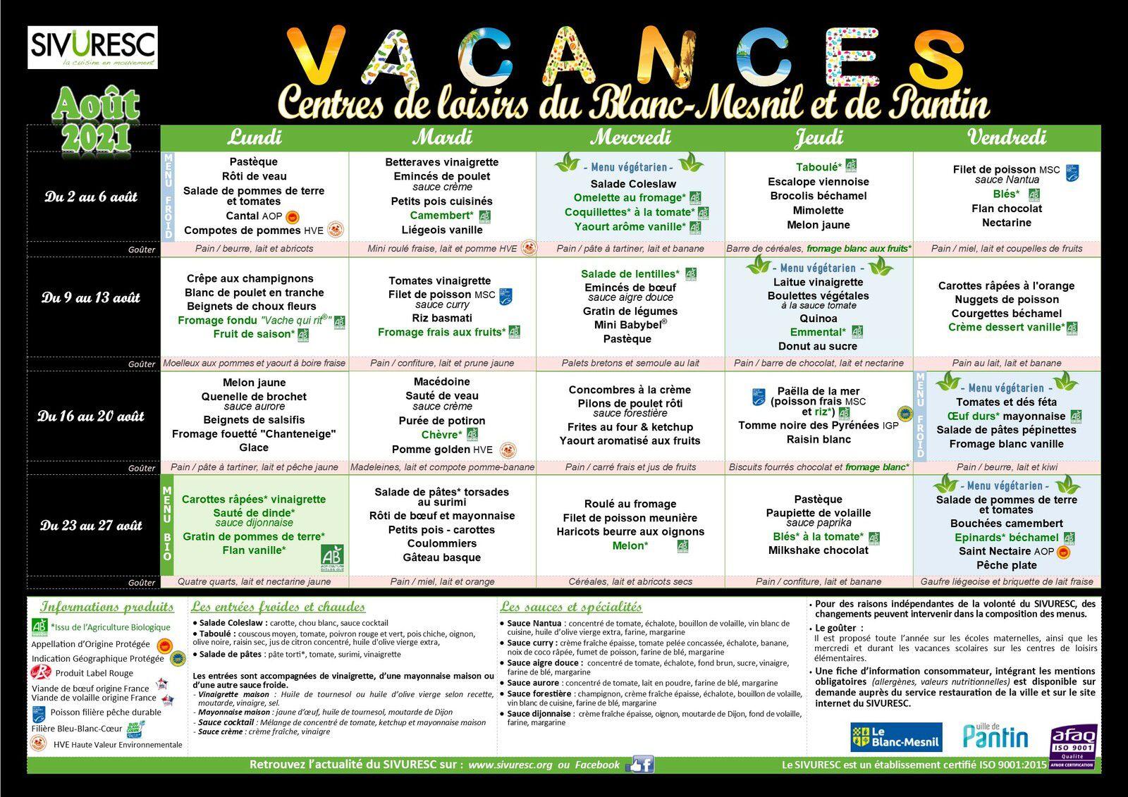 Menus centres de loisirs Août 2021