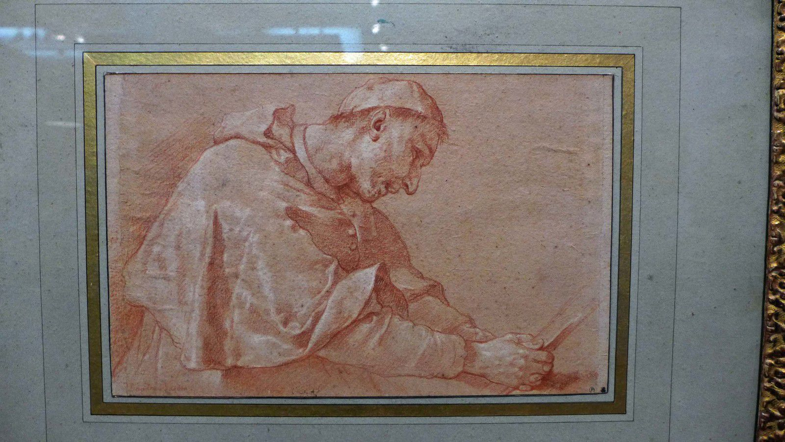 Michel-François DANDRE-BARDON, Saint Charles Borromée en prière (sanguine et rehauts de blanc sur papier crème)