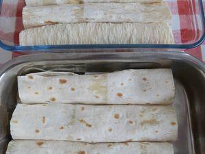 Lavash au jambon ou poulet à la béchamel aux champignons, gratinés
