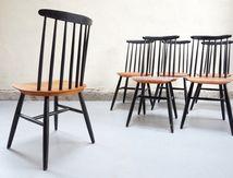 vendu - chaises Tapiovaara Ilmari design vintage suédois 6 contreplaqué scandinave années 50 60 chair designer