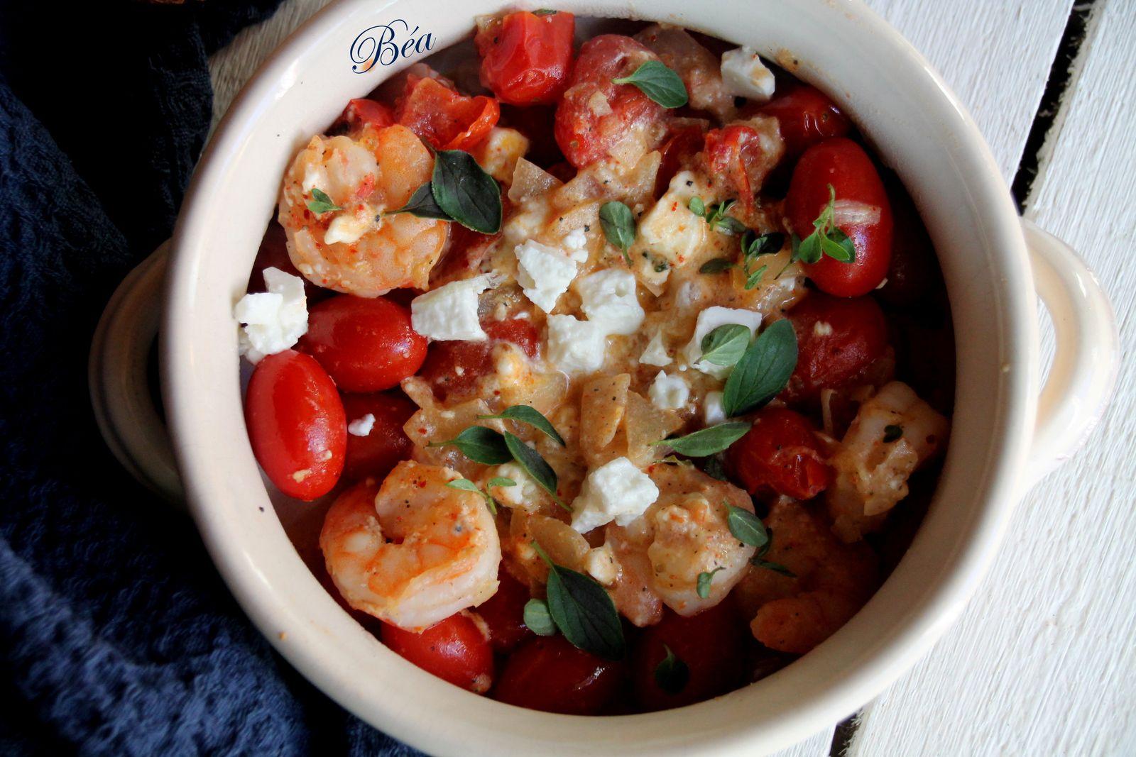 Crevettes sautées aux tomates cerise et féta