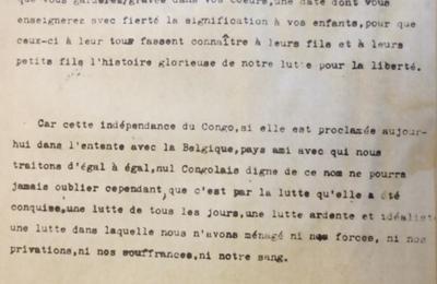 30 juin 1960 : La copie originale du discours de Lumumba