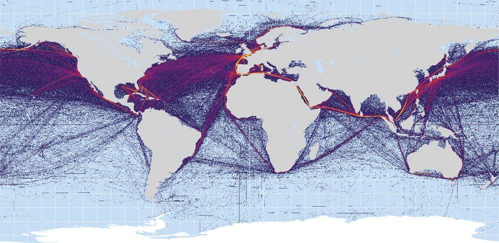 Routes maritimes mondiales. On observe que les plus importantes sont transatlantiques et transpacifiques vers les Etats-Unis. La route dite su Sud de l'Asie à l'Europe passe par le canal de Suez.