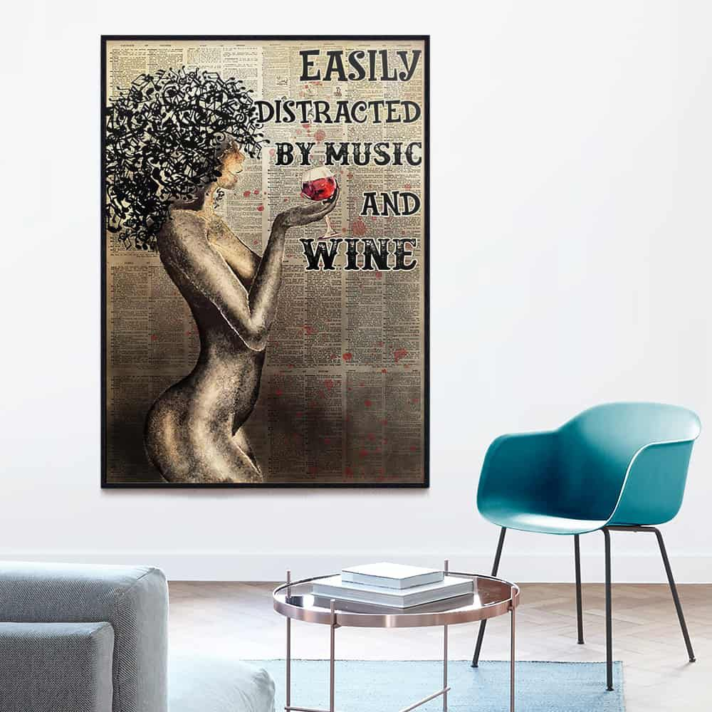 Afro Girl Easily Distracted By Music And Wine Book Page poster, canvas