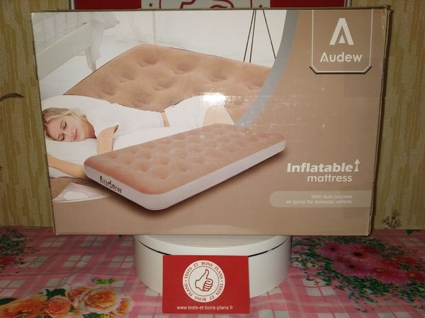 unboxing matelas pneumatique gonflable Audew 1 place à revêtement Soft Flocking @ Tests et Bons Plans