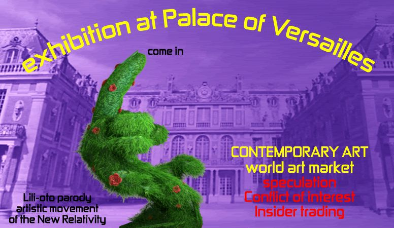 exhibition palace of Versailles, contemporary art, visual arts and artist event. Creation artwork, art parody, the greatest creative artists. artistic installation digital art and space art critic against the mass industrial culture