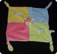 Doudou peluche ours plat 4 noeuds Gipsy ,montgolfiere,nuage