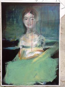 Portrait de femmes- peintures France Everard_Où se cache la Barbe Bleue?