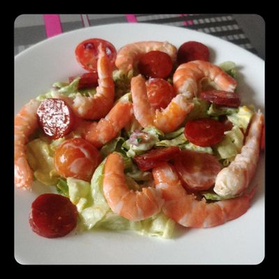 Salade au chorizo et crevettes