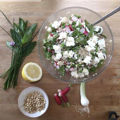 Taboulé de boulghour aux légumes verts et radis, citron et féta