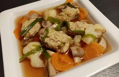 Bouillon aux boulettes de viande et légumes d'hiver de Cyril Lignac dans tous en cuisine (dashi)