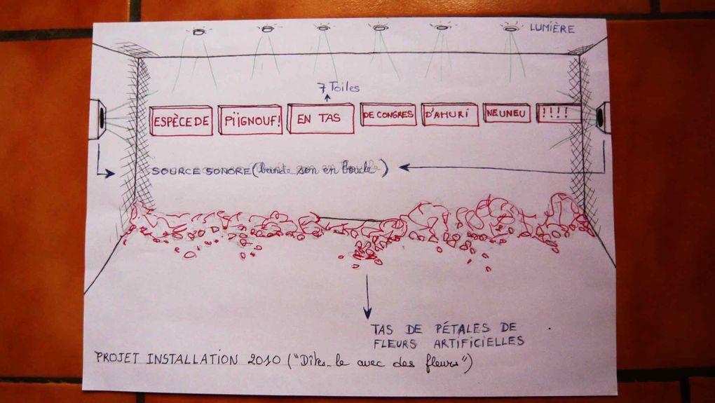 """ESQUISSES DU PROJET D'INSTALLATION : """"DITES LE AVEC DES FLEURS"""". (7 toiles = 4 mètres). Techniques mixtes et acrylique sur toile tissu imprimé."""