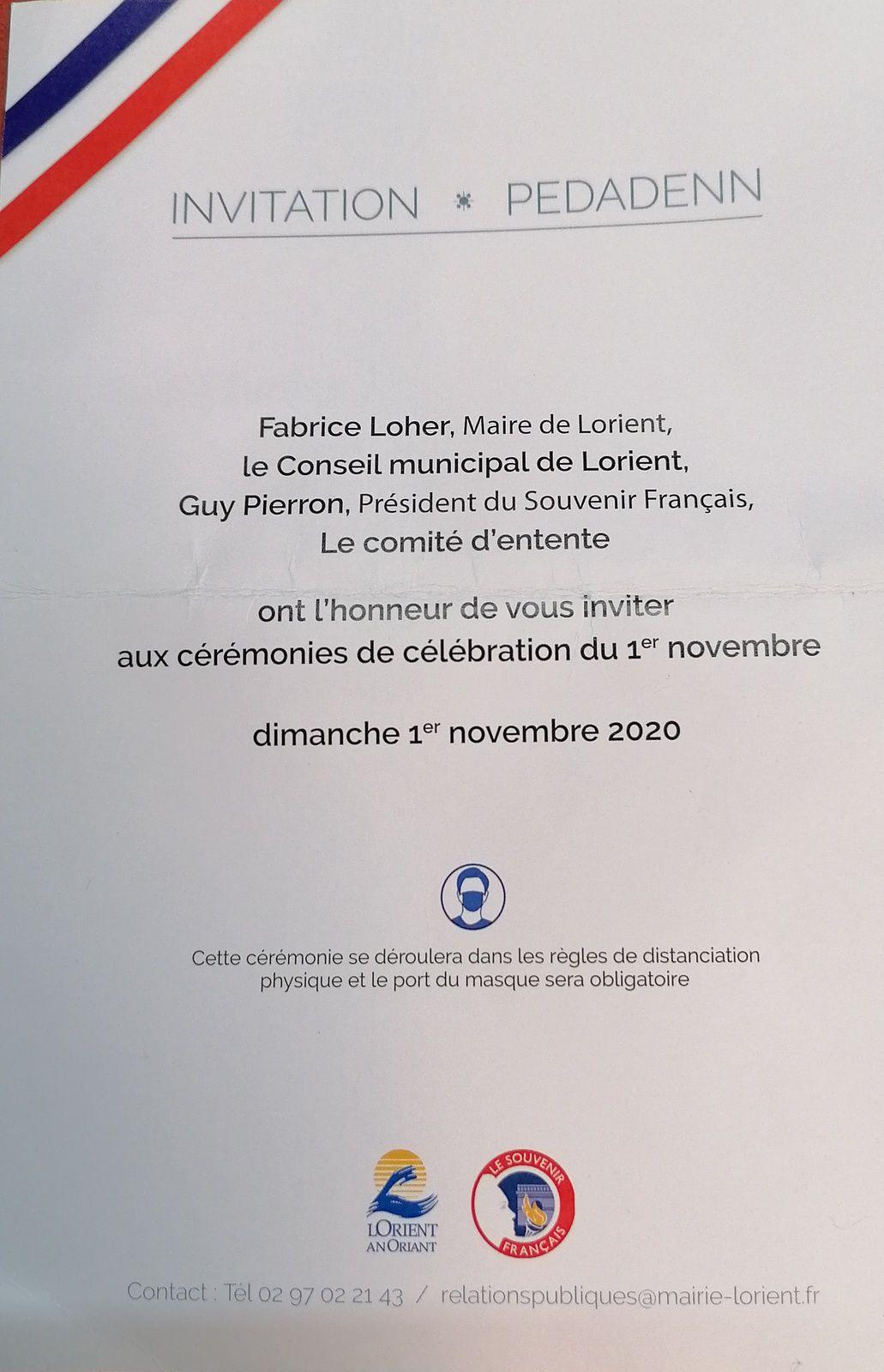 CEREMONIESDE CELEBRATIONDU 1ER NOVEMBRE 2020