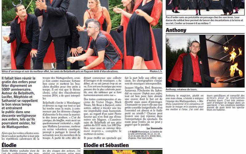 L'anniversaire de Belzébuth, c'est ce soir à Mooslargue ! - L'Alsace du 12 août 2014