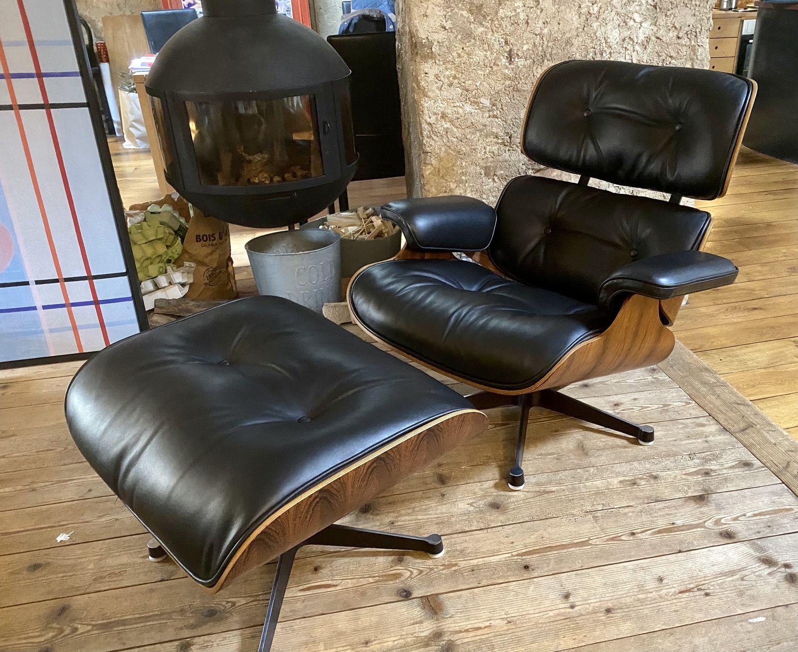 Restauration lounge Eames cuir aniline atelier hafner