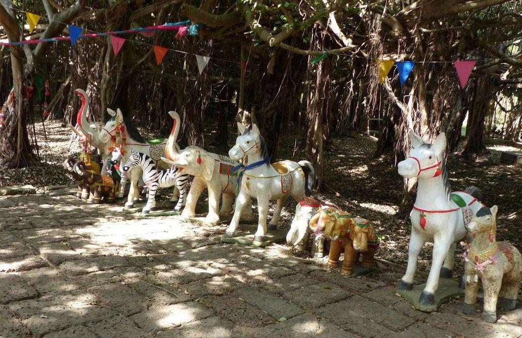 Plusieurs petits autels sont aménagés consacrés à des divinités bouddhistes ou à leur bestiaire...