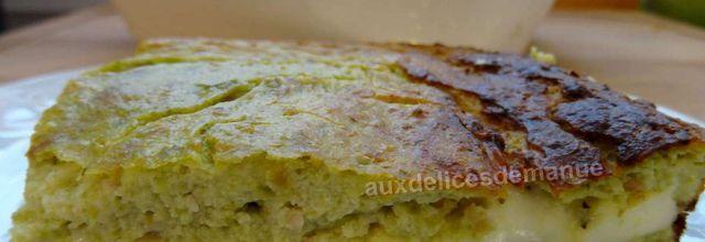Flan salé aux haricots verts, bacon et fromages