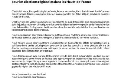 Communiqué de presse d'union de la gauche et des écologistes pour les élections régionales dans les Hauts-de-France