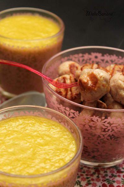 Soupe & boulettes de poulet / lardon / parmesan