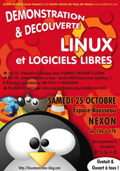 RENCONTRE LINUX & LOGICIELS LIBRES : Samedi 25 Octobre - 14h>17h - NEXON