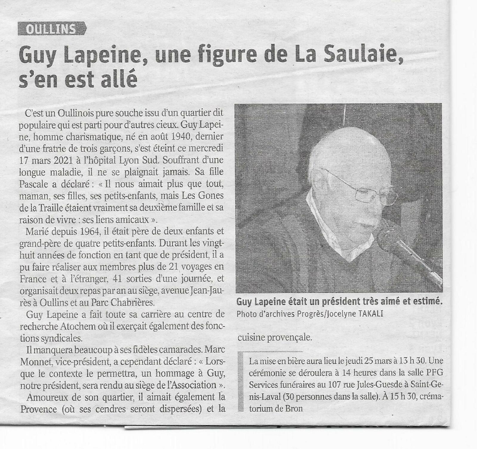 Notre ami et camarade Guy Lapeine nous a quittés ce 17 mars ...