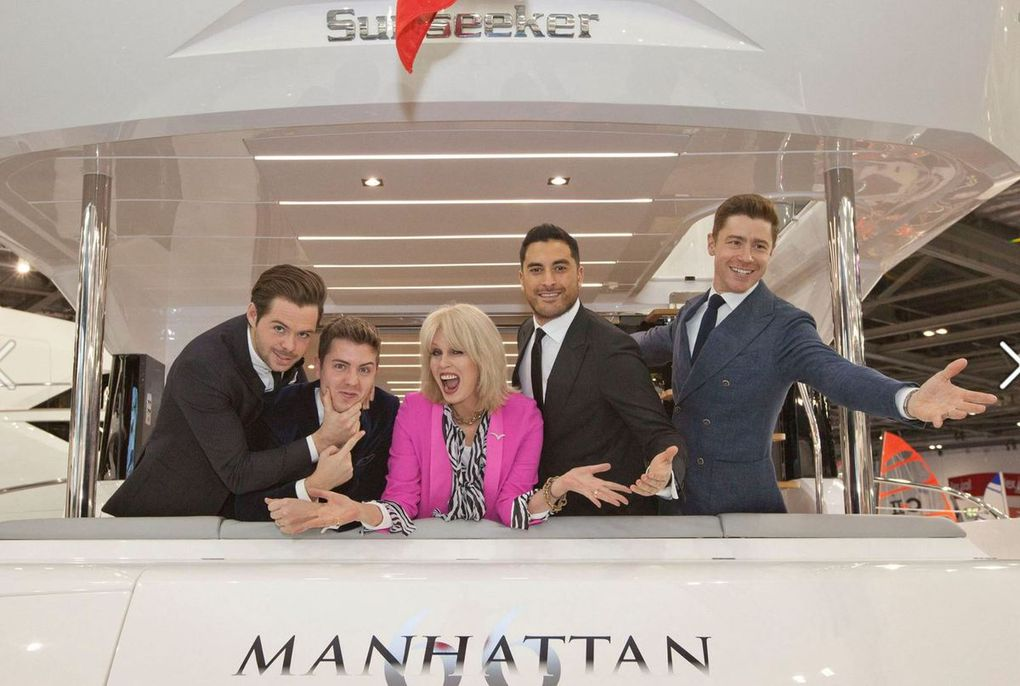 Award-winning British actress Joanna Lumley OBE, and Britain's Got Talent Finalists, Jack Pack special guests of Sunseeker at London Boat Show on Friday 6th January