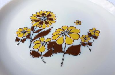 SET 5+9 ASSIETTES RETRO 1970 SOVIREL MARGUERITES - 40 euros
