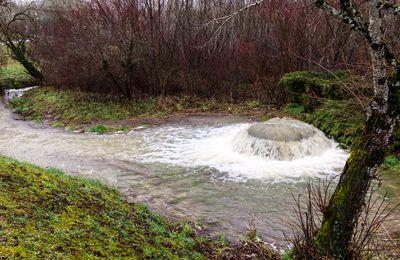 Le Puit de Bontemps, puit artésien à Brouchaud en Dordogne, le spectacle de la nature