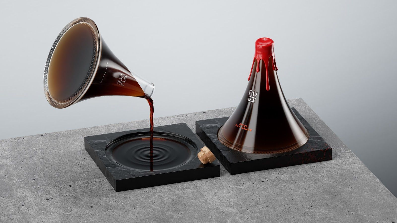 FUJI (sauce soja premium originaire du volcan japonais FUJI) I Design (projet étudiant : Evgeni Kudrinskaya (HSE Art and Design Schoool), Russie (mars 2021)