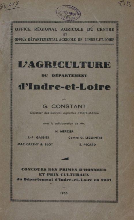 L'AGRICULTURE DU DÉPARTEMENT d'Indre-et-Loire en 1933