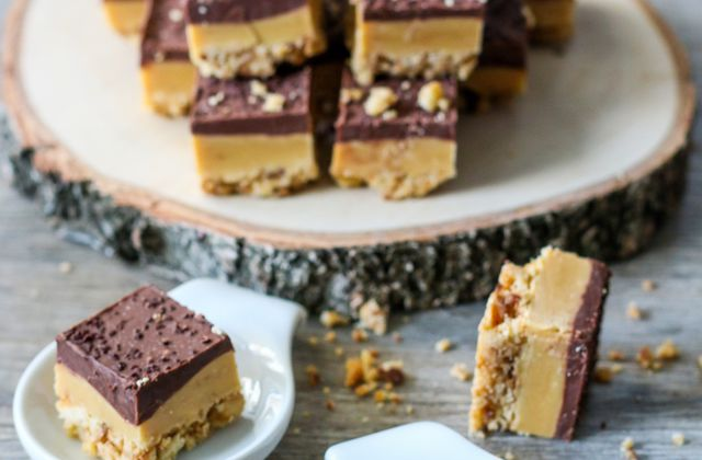 Petits carrés fondants au caramel et chocolat ( Millionnaire's shortbread )