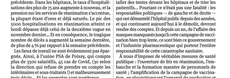 Covid 19 : le seul bilan de Macron c'est la catastrophe sanitaire !