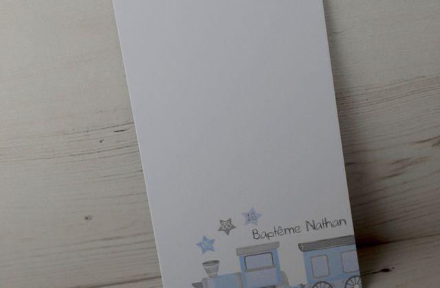 Les menus de baptême thème petit train pour Nathan