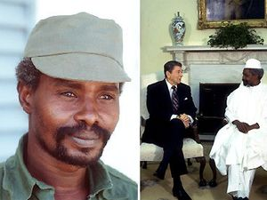Hissène Habré received by the former french president Mitterrand and the former american president Reagan