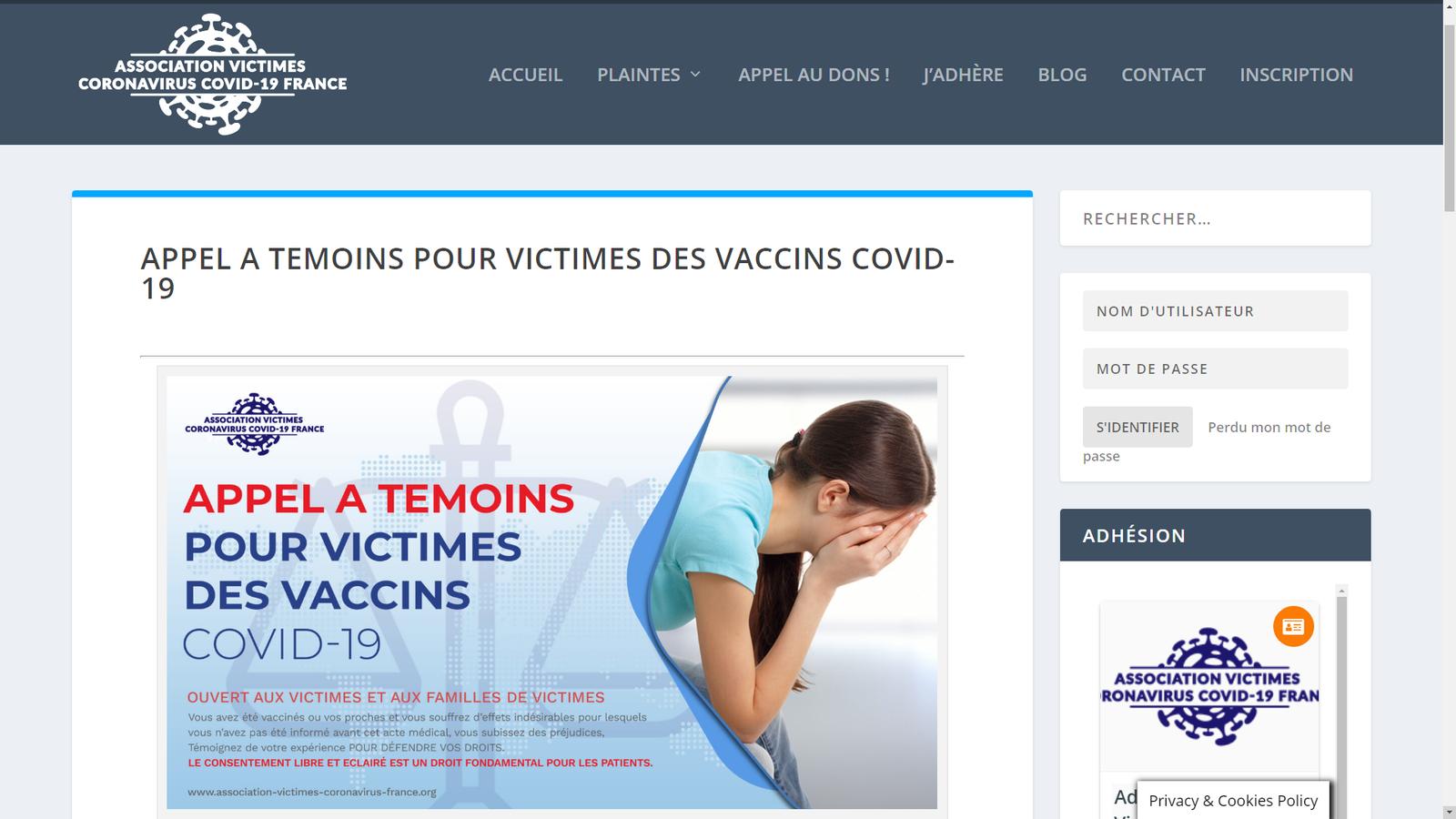 L'association Victimes Coronavirus Covid-19 lance un appel à témoins pour les victimes des vaccins Covid-19
