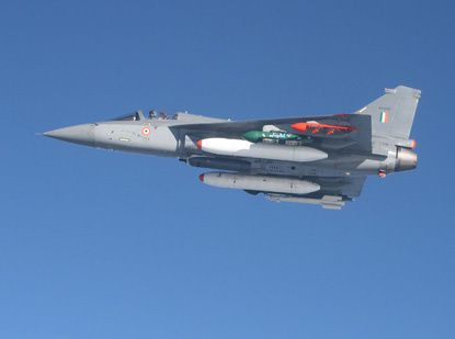 Photo : © Indian Air Force - Un Tejas lors d'un vol d'essais.