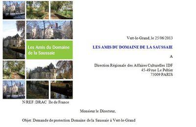 VERT-LE-GRAND DEMANDE DE PROTECTION DU DOMAINE DE LA SAUSSAIE