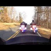 Victory Police Motorcycles in North Carolina Curves