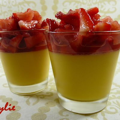 Panna cotta Orange / Mangue, Salade de Fraises
