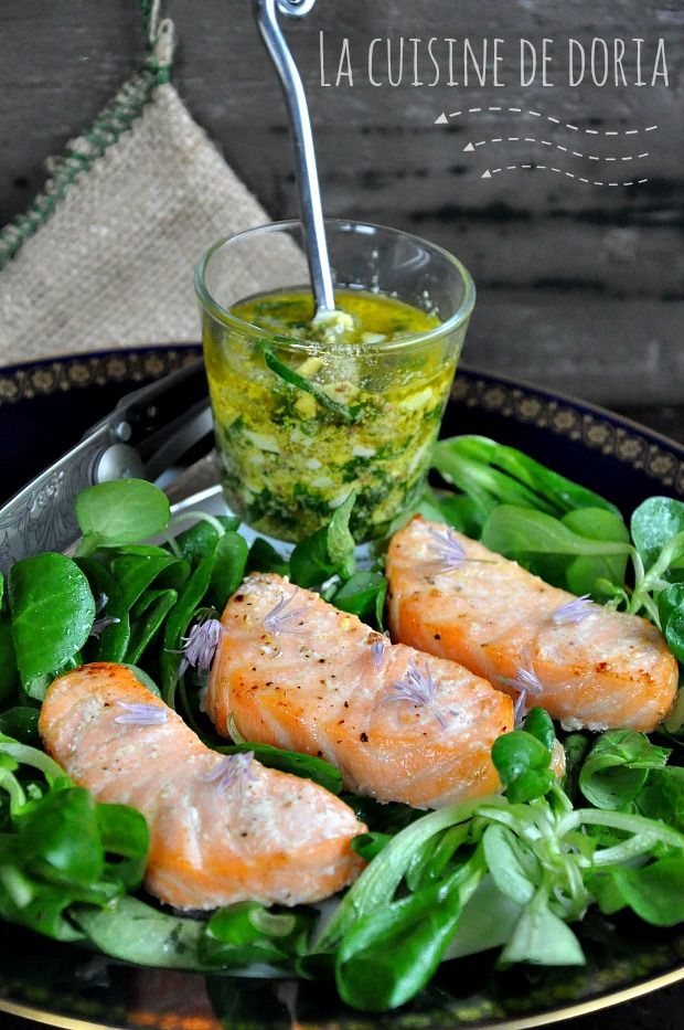 Saumon froid, sauce ravigote