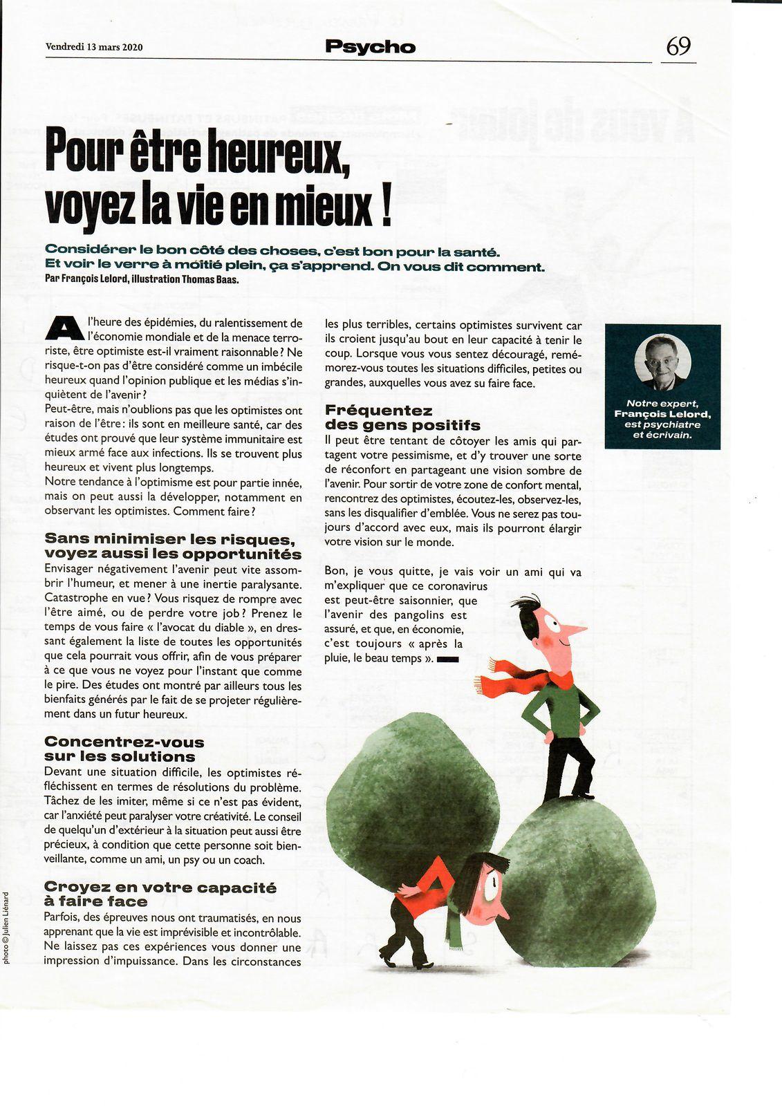 Vu et lu dans Le Parisien Weekend du 13/03/20