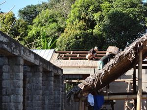 Couverture du bâtiment avec un isolant local : des tiges de ravinala (arbre du voyageur, emblème de Madagascar).