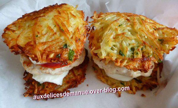 burger de pommes de terre, dinde, légumes et mozzarella.